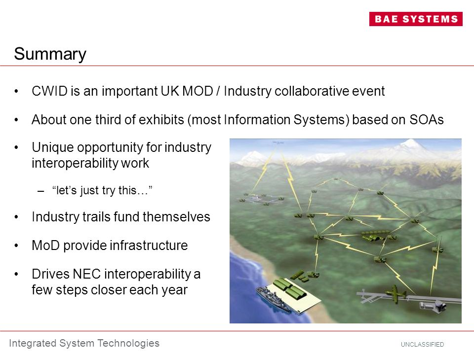 UNCLASSIFIED Integrated System Technologies Summary CWID is an important UK MOD / Industry collaborative event About one third of exhibits (most Infor
