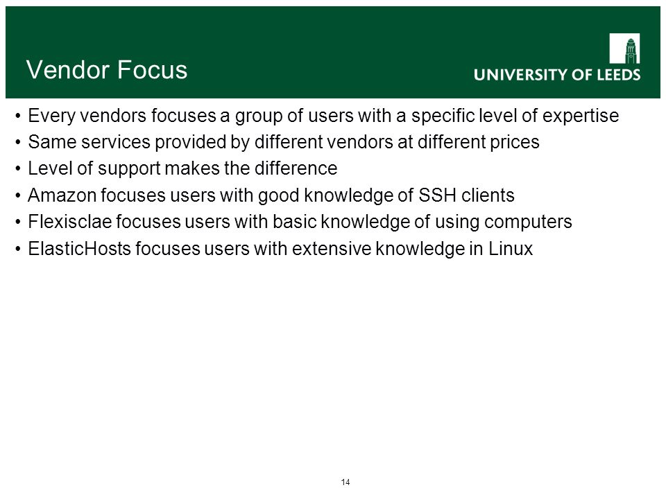 14 Vendor Focus Every vendors focuses a group of users with a specific level of expertise Same services provided by different vendors at different pri