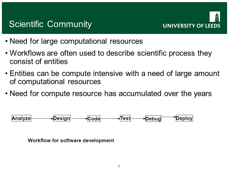 6 Scientific Community Need for large computational resources Workflows are often used to describe scientific process they consist of entities Entitie