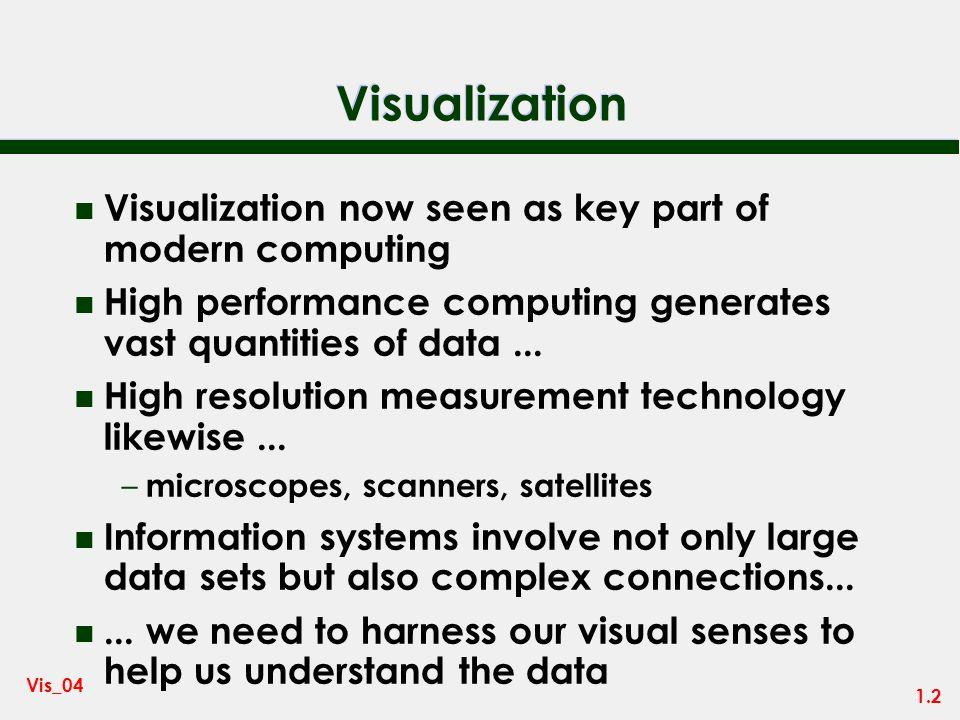 1.1 Vis_04 Data Visualization MSc Module School of Computing Ken Brodlie Semester 1 2004-2005 Lecture 1 - Introduction