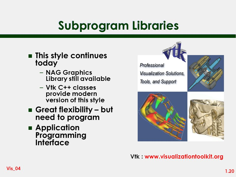 1.19 Vis_04 Subprogram Libraries n 1960 onwards n Libraries of subprograms to draw graphs, contour plots … n Scientists include calls to library routi