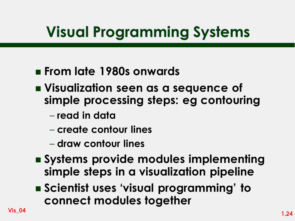 1.23 Vis_04 Visualization Today n Recent surge of interest in visualization was sparked by an NSF report: Visualization in Scientific Computing – McCo