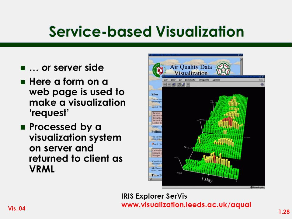 1.27 Vis_04 Service-based Visualization n The Internet era has introduced a fourth style of system – where a visualization service is delivered over t