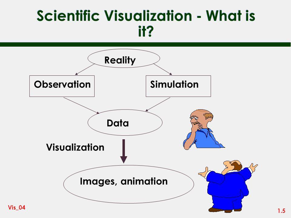 1.4 Vis_04 Data Visualization = Scientific Vis + Information Vis n Scientific Visualization – Numerical data from science, engineering and medicine n
