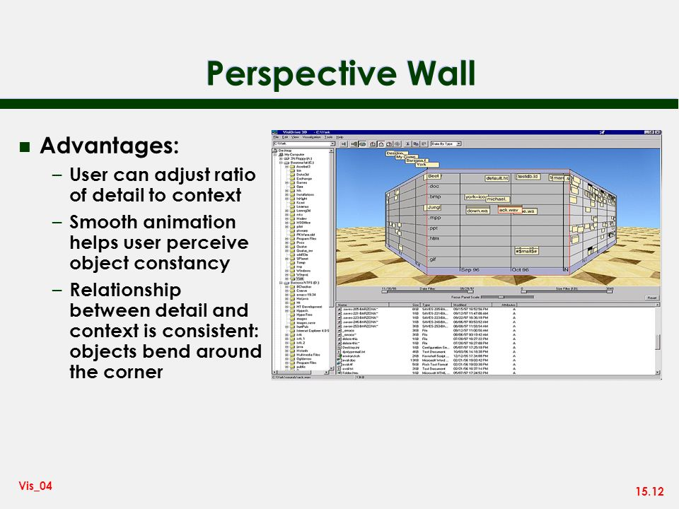 15.12 Vis_04 Perspective Wall n Advantages: – User can adjust ratio of detail to context – Smooth animation helps user perceive object constancy – Relationship between detail and context is consistent: objects bend around the corner