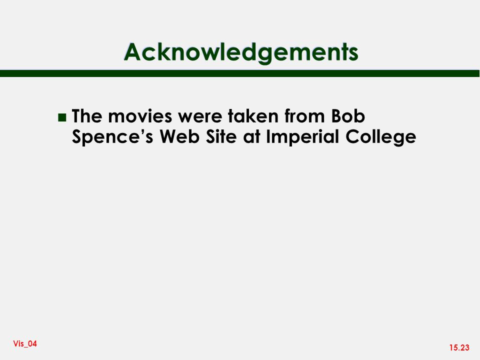15.23 Vis_04 Acknowledgements n The movies were taken from Bob Spences Web Site at Imperial College