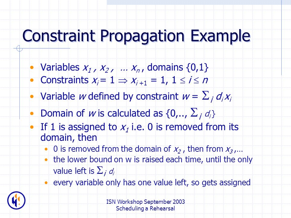 ISN Workshop September 2003 Scheduling a Rehearsal Constraint Propagation Example Variables x 1, x 2, … x n, domains {0,1} Constraints x i = 1 x i +1