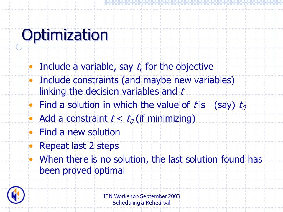 ISN Workshop September 2003 Scheduling a Rehearsal Optimization Include a variable, say t, for the objective Include constraints (and maybe new variables) linking the decision variables and t Find a solution in which the value of t is (say) t 0 Add a constraint t < t 0 (if minimizing) Find a new solution Repeat last 2 steps When there is no solution, the last solution found has been proved optimal