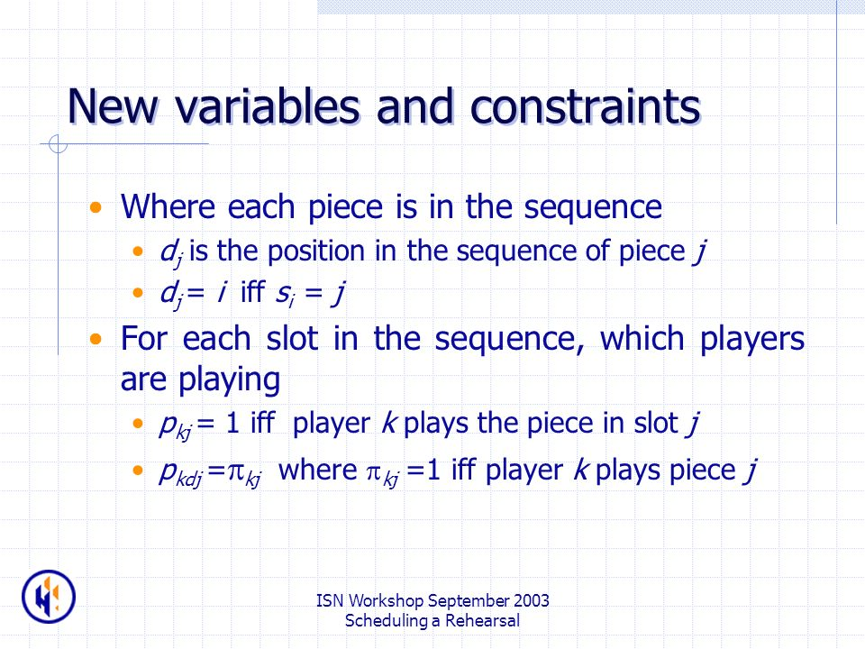 ISN Workshop September 2003 Scheduling a Rehearsal New variables and constraints Where each piece is in the sequence d j is the position in the sequen