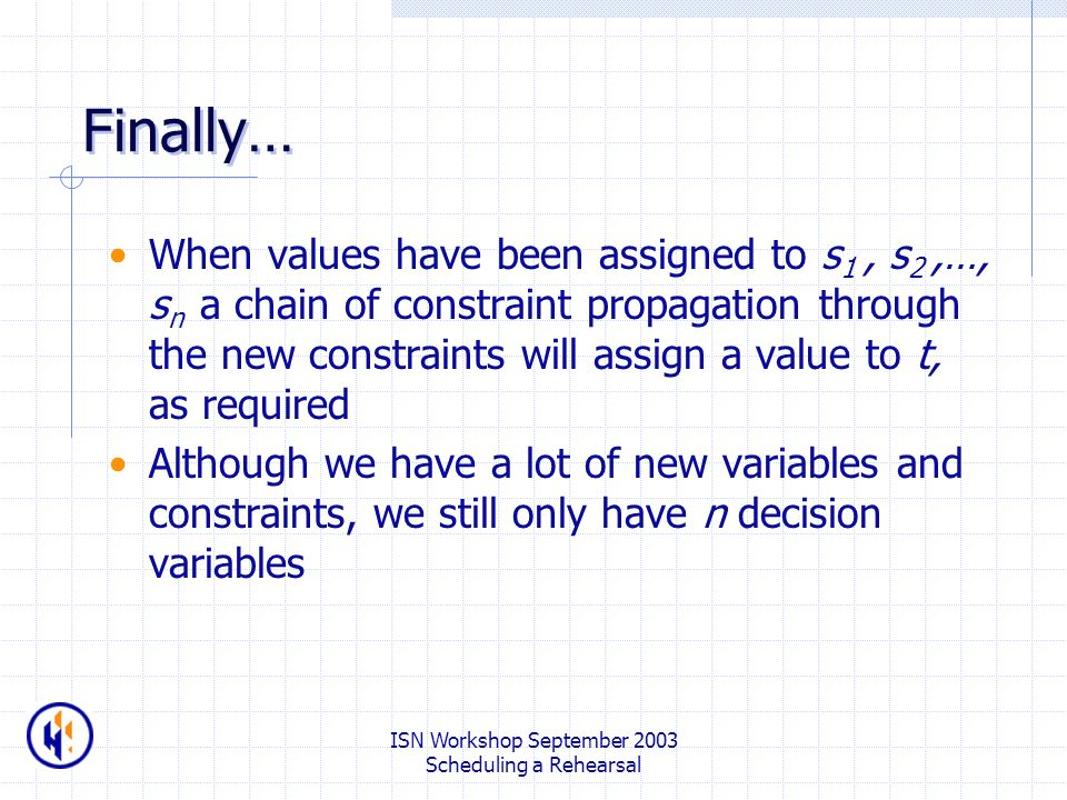 ISN Workshop September 2003 Scheduling a Rehearsal Finally… When values have been assigned to s 1, s 2,…, s n a chain of constraint propagation through the new constraints will assign a value to t, as required Although we have a lot of new variables and constraints, we still only have n decision variables