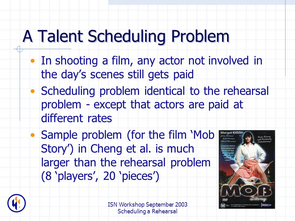 ISN Workshop September 2003 Scheduling a Rehearsal A Talent Scheduling Problem In shooting a film, any actor not involved in the days scenes still gets paid Scheduling problem identical to the rehearsal problem - except that actors are paid at different rates Sample problem (for the film Mob Story) in Cheng et al.