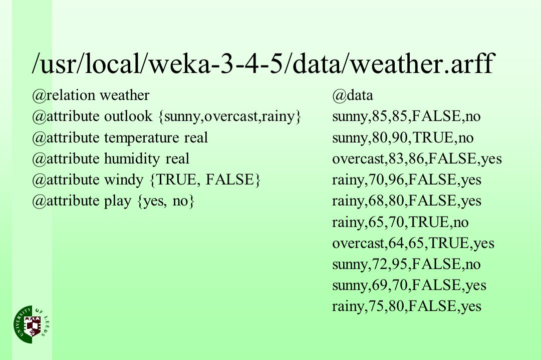 /usr/local/weka-3-4-5/data/weather.arff @relation weather @attribute outlook {sunny,overcast,rainy} @attribute temperature real @attribute humidity re