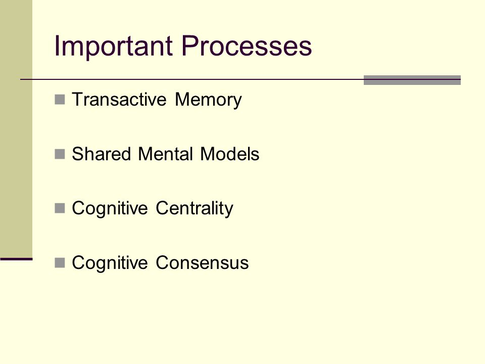 Transactive Memory Definition: The set of knowledge processed by group members, coupled with and awareness of who knows what.