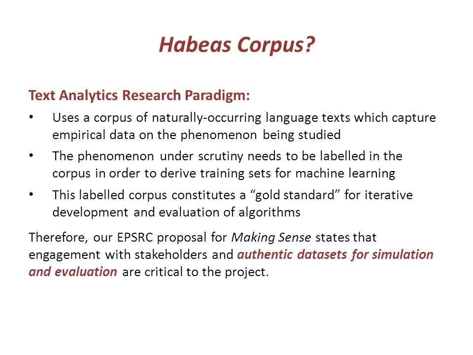 Habeas Corpus.
