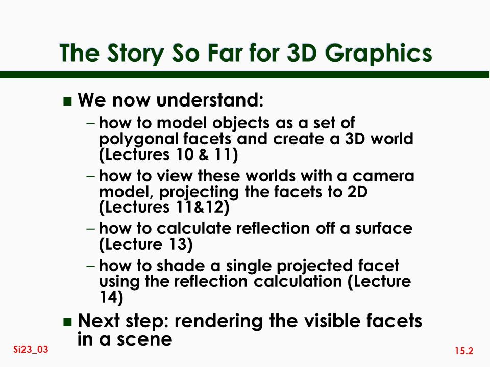 15.2 Si23_03 The Story So Far for 3D Graphics n We now understand: – how to model objects as a set of polygonal facets and create a 3D world (Lectures