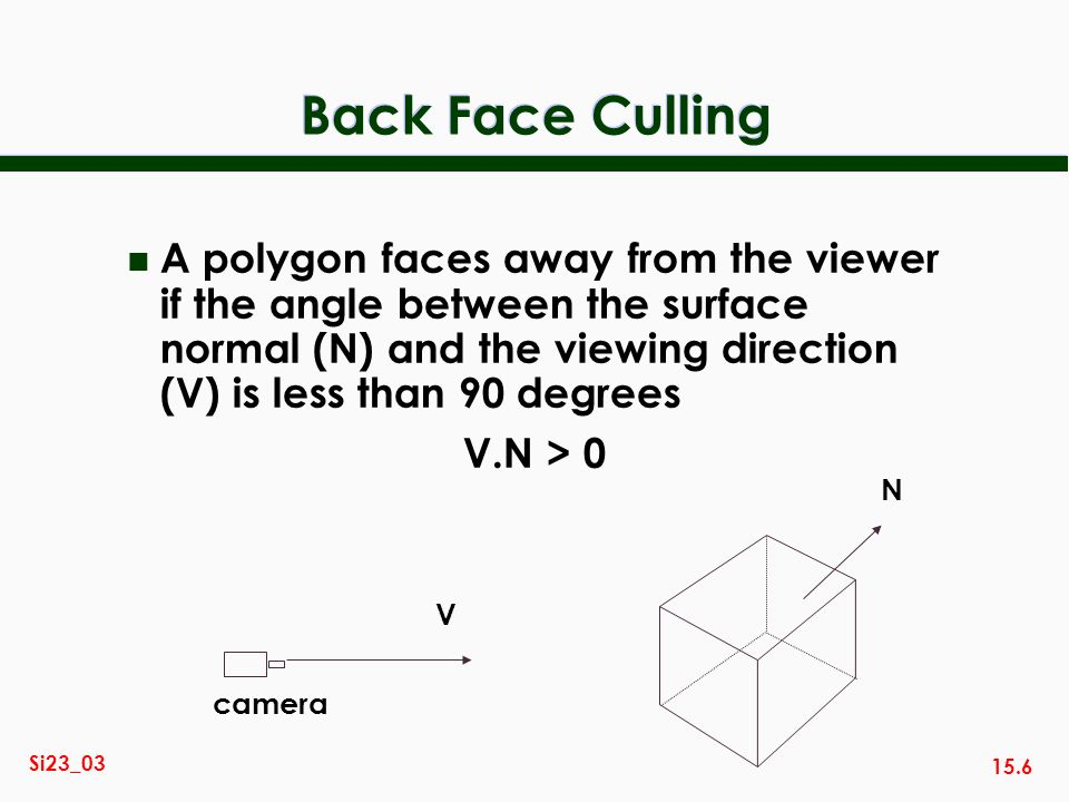 15.6 Si23_03 Back Face Culling n A polygon faces away from the viewer if the angle between the surface normal (N) and the viewing direction (V) is les
