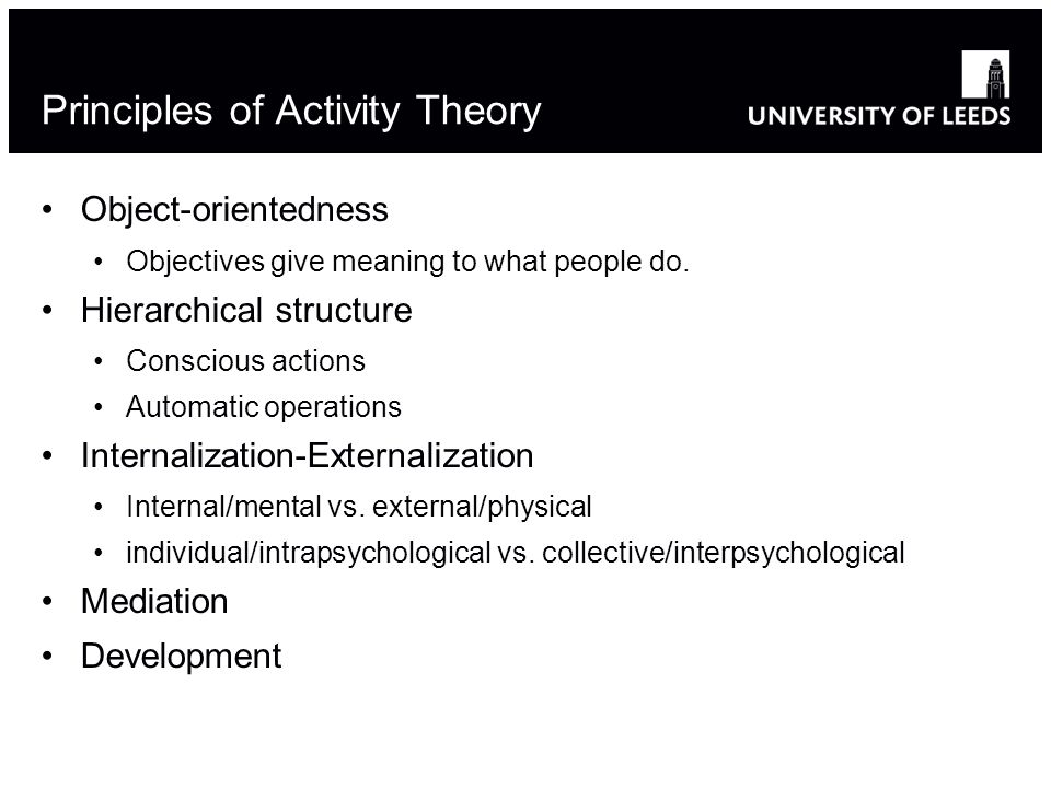 Principles of Activity Theory Object-orientedness Objectives give meaning to what people do. Hierarchical structure Conscious actions Automatic operat