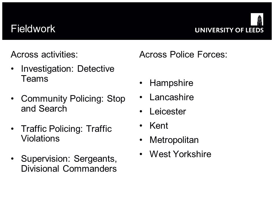 Fieldwork Across activities: Investigation: Detective Teams Community Policing: Stop and Search Traffic Policing: Traffic Violations Supervision: Sergeants, Divisional Commanders Across Police Forces: Hampshire Lancashire Leicester Kent Metropolitan West Yorkshire