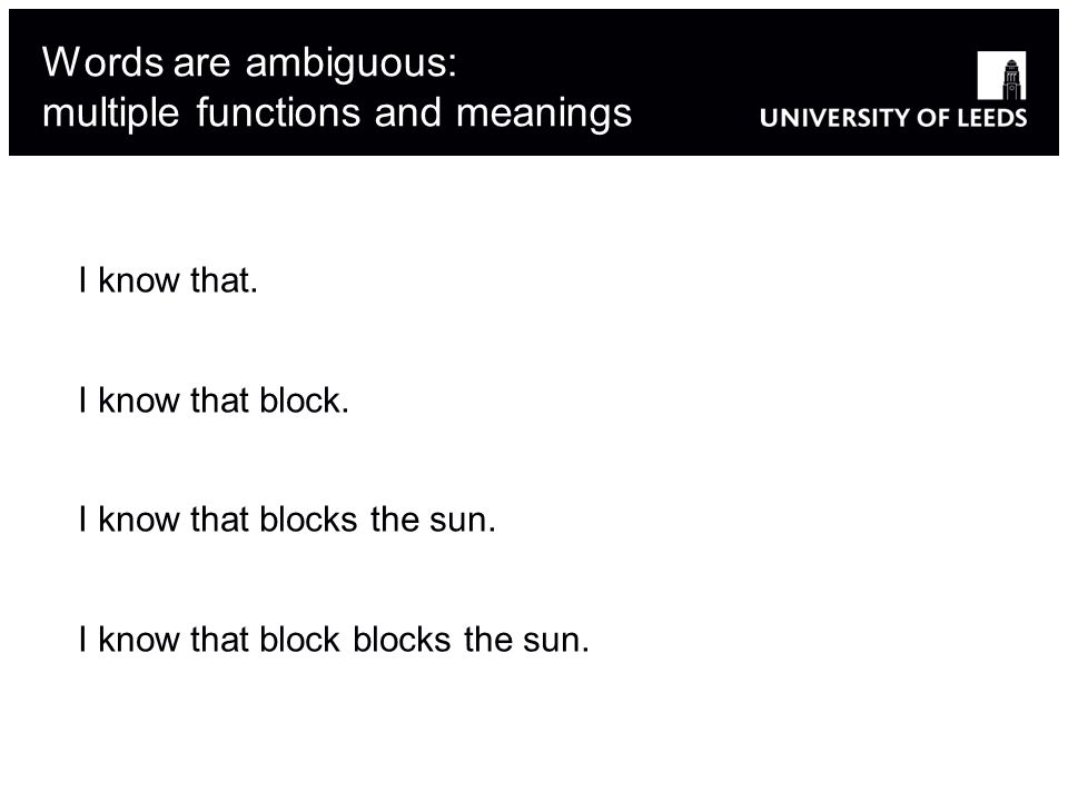 Adapted from Robert Berwick s 6.863J 11 Words are ambiguous: multiple functions and meanings I know that.