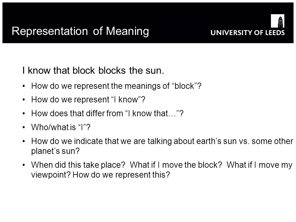 Representation of Meaning I know that block blocks the sun.
