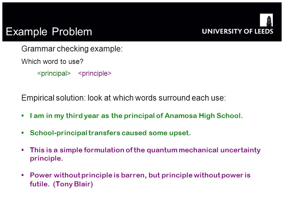 Example Problem Grammar checking example: Which word to use.