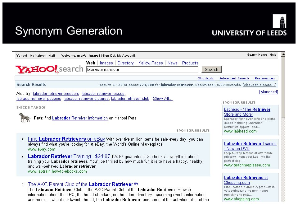 Synonym Generation