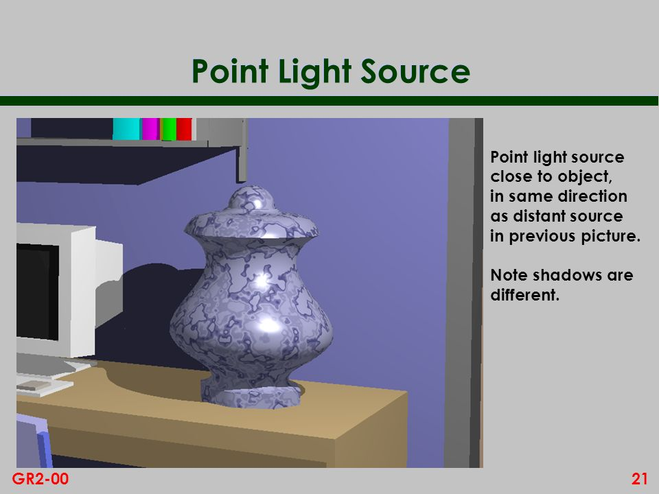 21GR2-00 Point Light Source Point light source close to object, in same direction as distant source in previous picture. Note shadows are different.