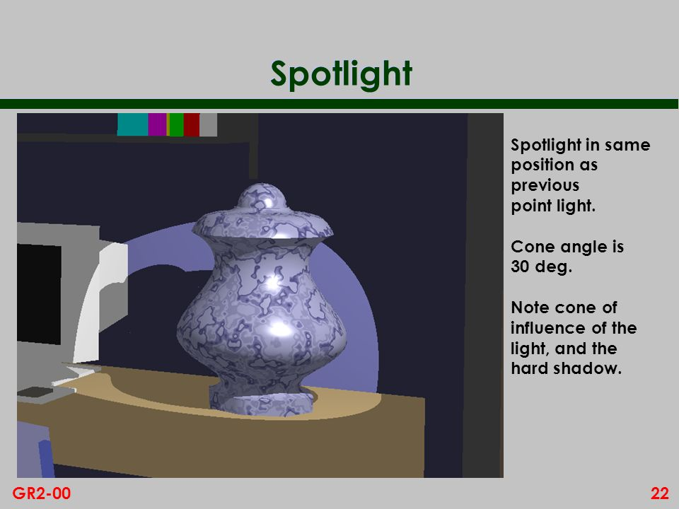 22GR2-00 Spotlight Spotlight in same position as previous point light. Cone angle is 30 deg. Note cone of influence of the light, and the hard shadow.