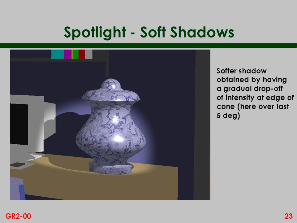 23GR2-00 Spotlight - Soft Shadows Softer shadow obtained by having a gradual drop-off of intensity at edge of cone (here over last 5 deg)
