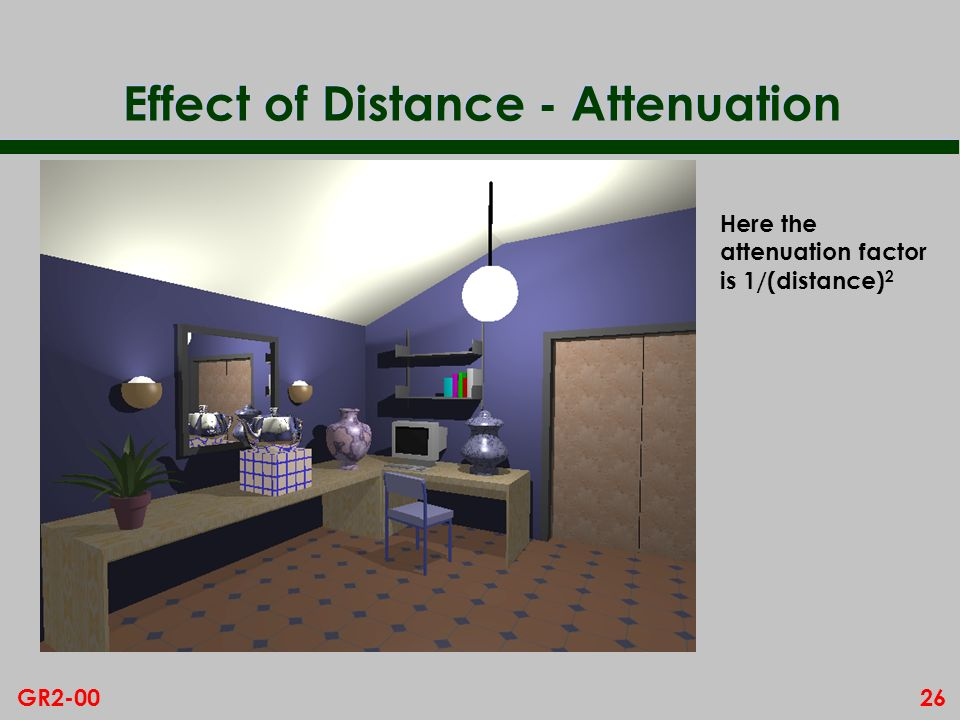 26GR2-00 Effect of Distance - Attenuation Here the attenuation factor is 1/(distance) 2