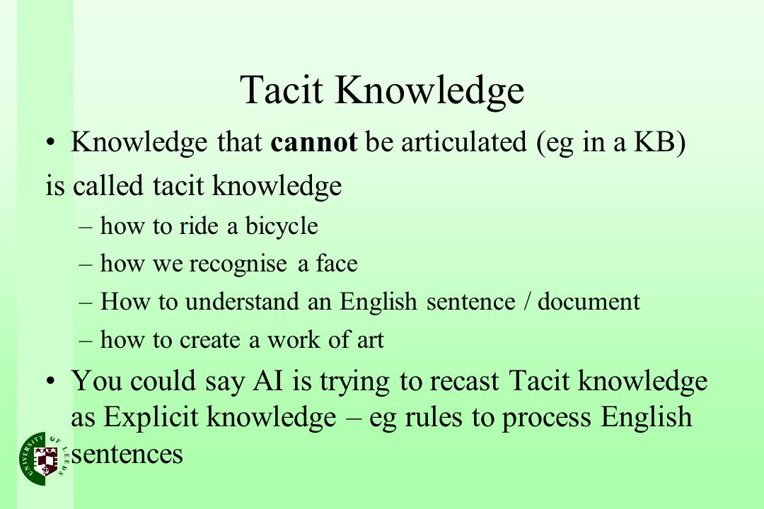 Tacit Knowledge Knowledge that cannot be articulated (eg in a KB) is called tacit knowledge –how to ride a bicycle –how we recognise a face –How to understand an English sentence / document –how to create a work of art You could say AI is trying to recast Tacit knowledge as Explicit knowledge – eg rules to process English sentences