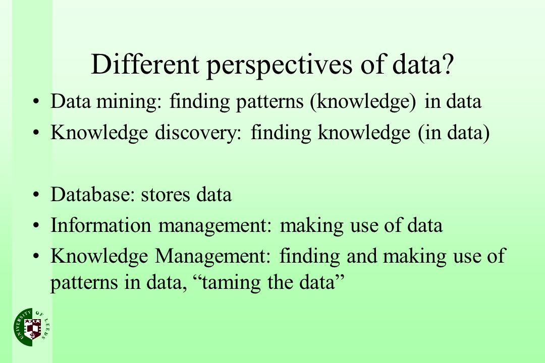 Different perspectives of data.