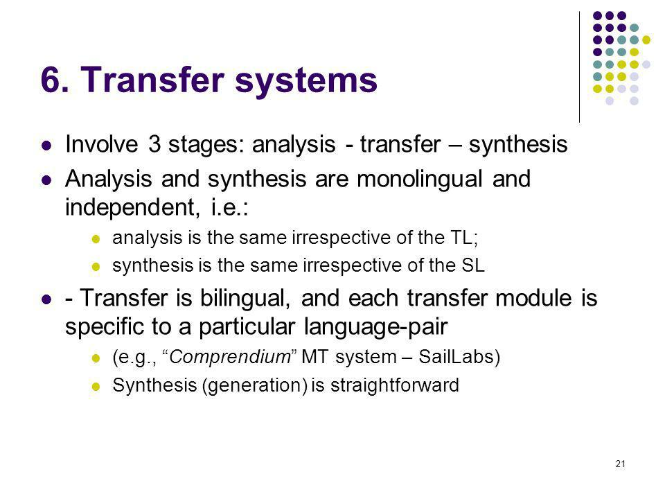 21 6. Transfer systems Involve 3 stages: analysis - transfer – synthesis Analysis and synthesis are monolingual and independent, i.e.: analysis is the