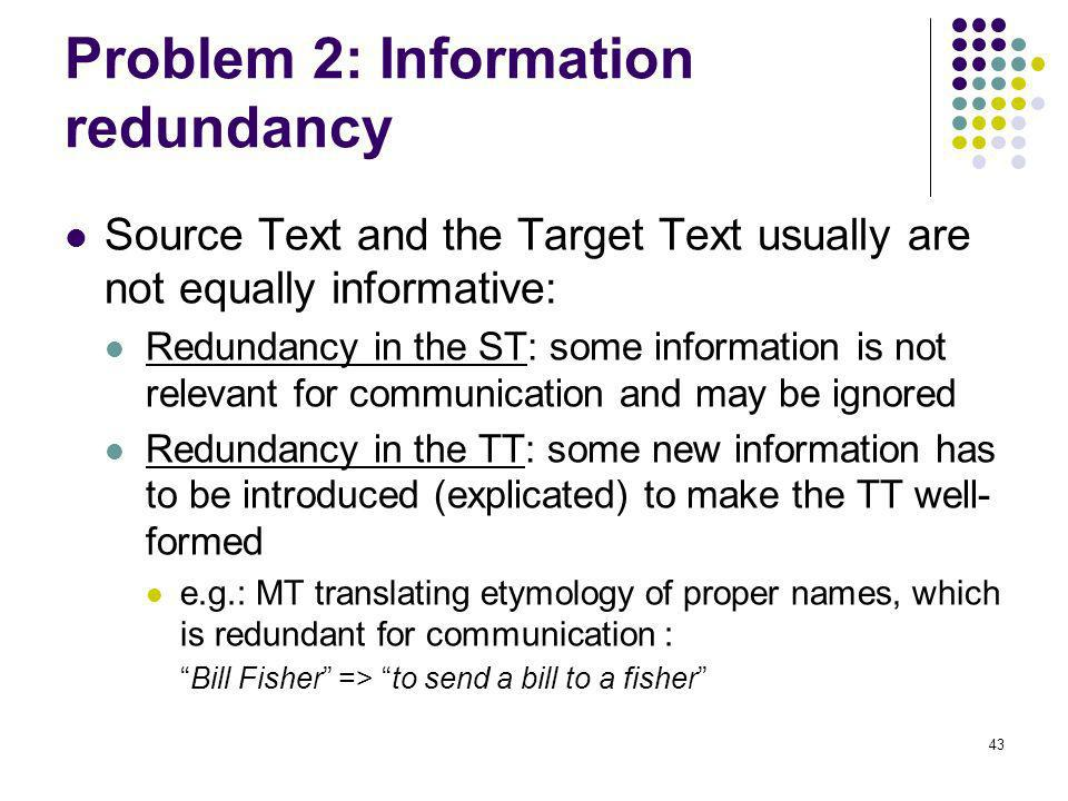 43 Problem 2: Information redundancy Source Text and the Target Text usually are not equally informative: Redundancy in the ST: some information is not relevant for communication and may be ignored Redundancy in the TT: some new information has to be introduced (explicated) to make the TT well- formed e.g.: MT translating etymology of proper names, which is redundant for communication : Bill Fisher => to send a bill to a fisher