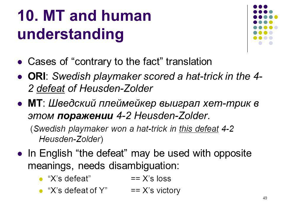 49 10. MT and human understanding Cases of contrary to the fact translation ORI: Swedish playmaker scored a hat-trick in the 4- 2 defeat of Heusden-Zo