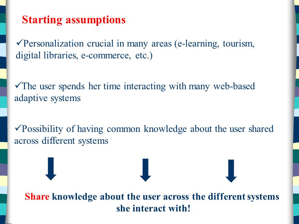 Starting assumptions Personalization crucial in many areas (e-learning, tourism, digital libraries, e-commerce, etc.) The user spends her time interacting with many web-based adaptive systems Possibility of having common knowledge about the user shared across different systems Share knowledge about the user across the different systems she interact with!