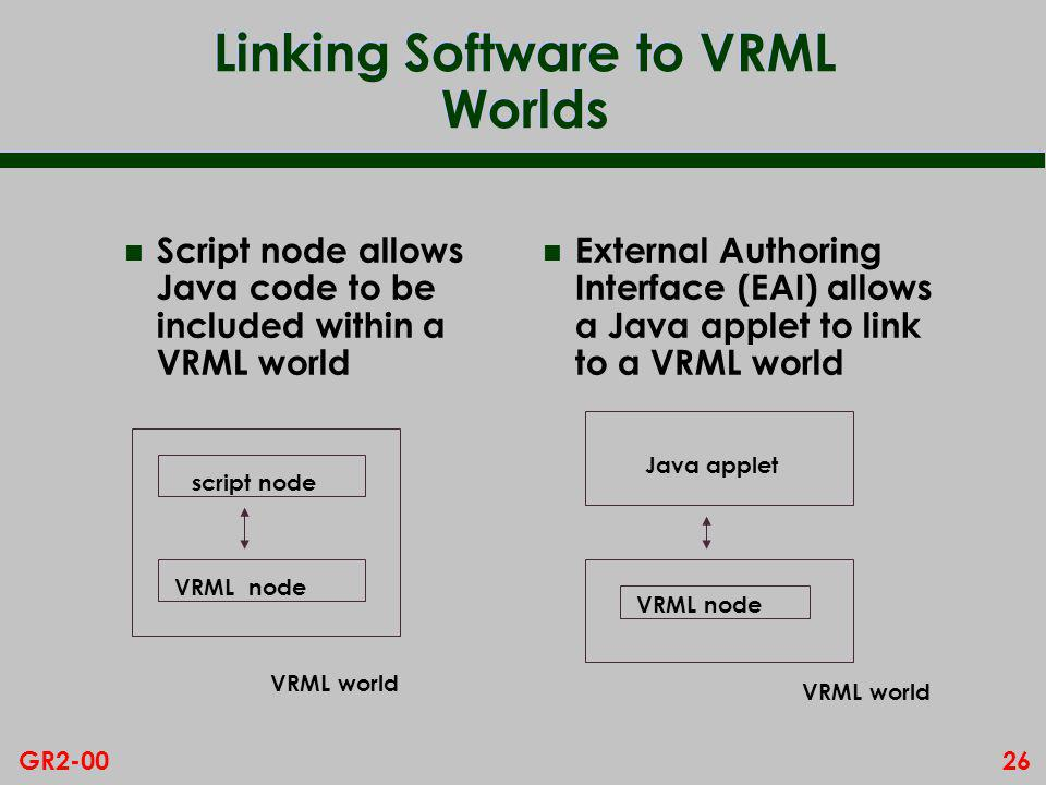 26GR2-00 Linking Software to VRML Worlds n Script node allows Java code to be included within a VRML world n External Authoring Interface (EAI) allows a Java applet to link to a VRML world script node VRML node Java applet VRML node VRML world