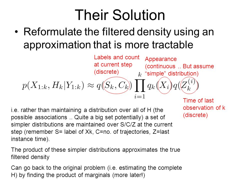 Their Solution Reformulate the filtered density using an approximation that is more tractable i.e.