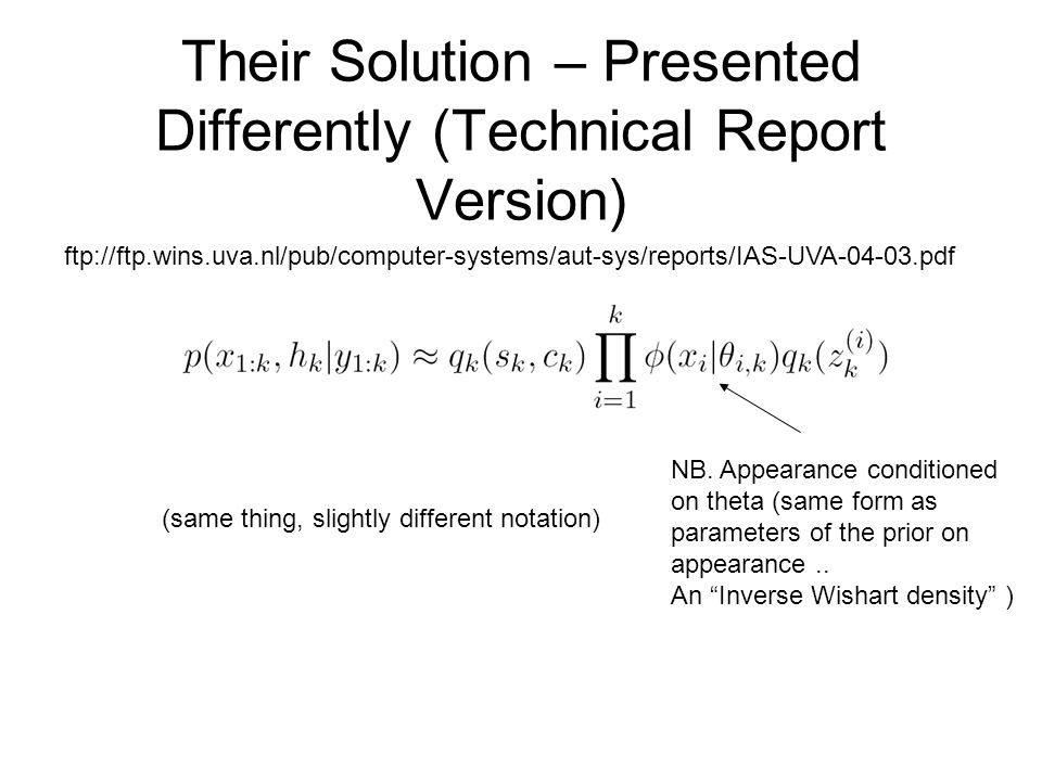 Their Solution – Presented Differently (Technical Report Version) ftp://ftp.wins.uva.nl/pub/computer-systems/aut-sys/reports/IAS-UVA-04-03.pdf (same thing, slightly different notation) NB.