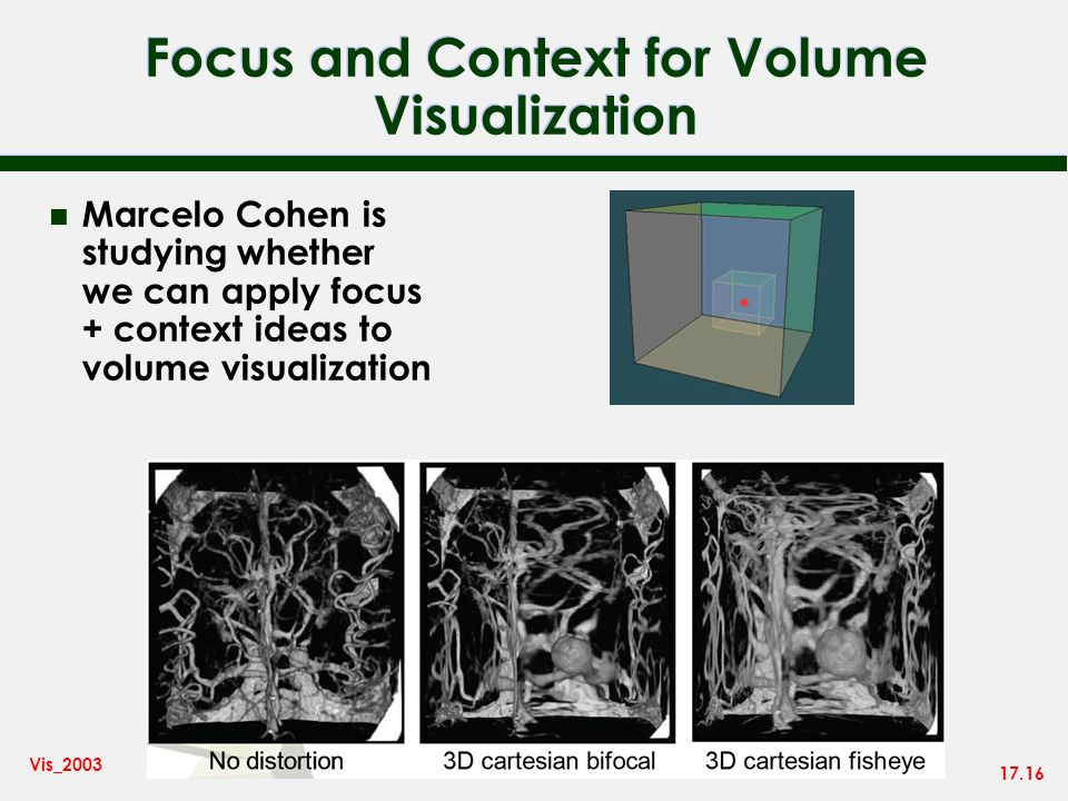 17.16 Vis_2003 Focus and Context for Volume Visualization n Marcelo Cohen is studying whether we can apply focus + context ideas to volume visualizati