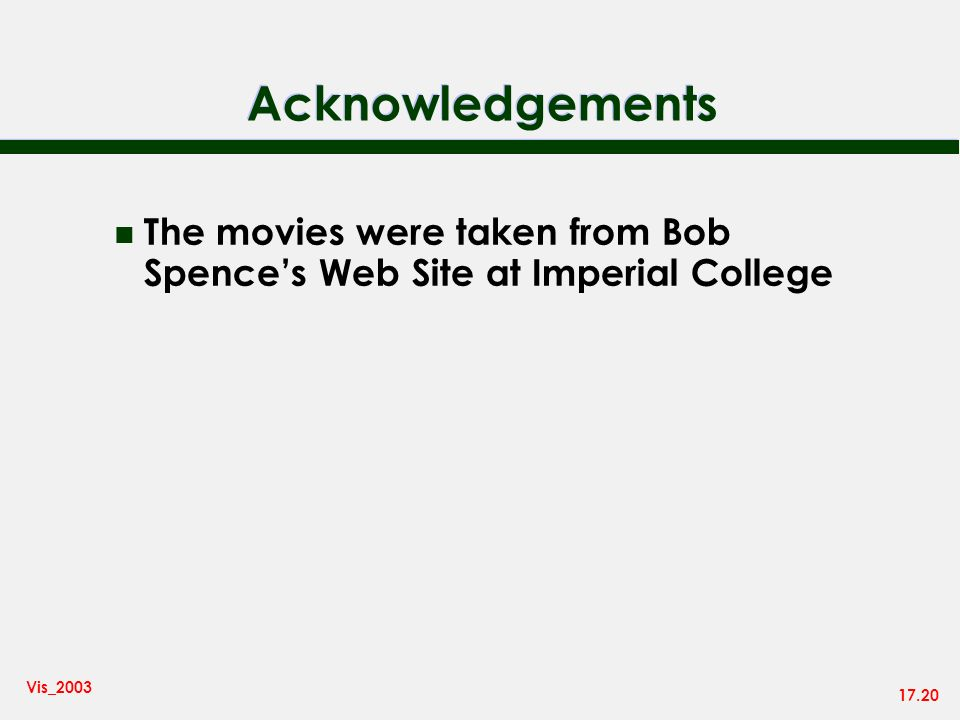 17.20 Vis_2003 Acknowledgements n The movies were taken from Bob Spences Web Site at Imperial College