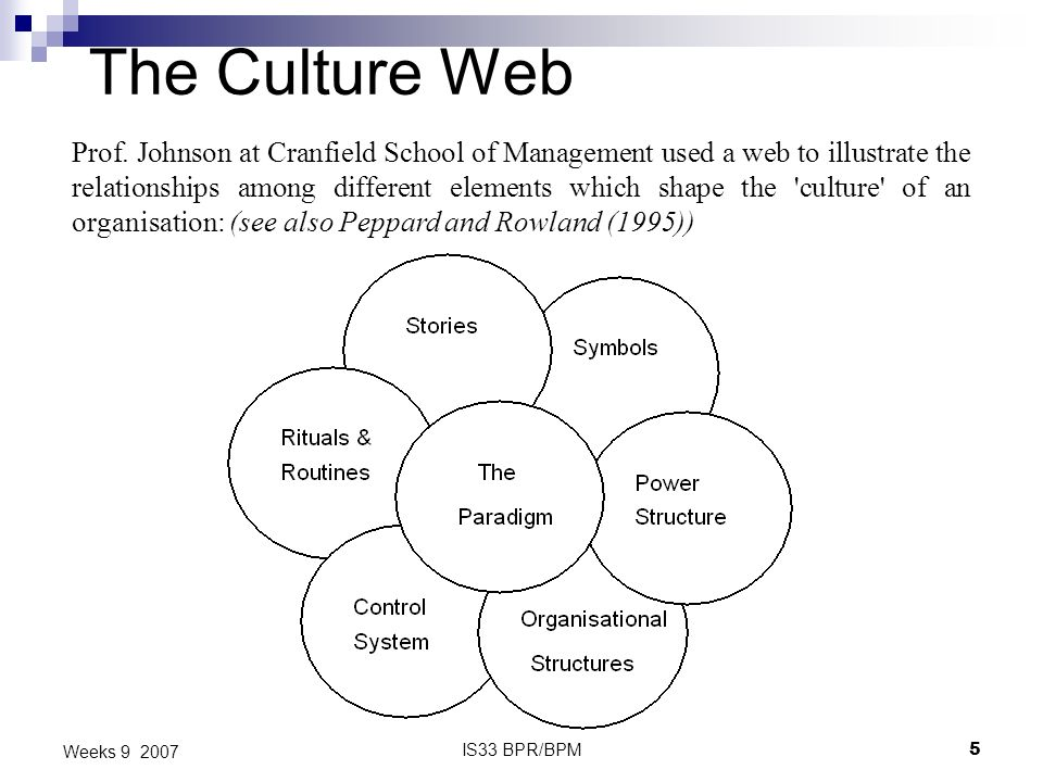 IS33 BPR/BPM5 Weeks 9 2007 The Culture Web Prof. Johnson at Cranfield School of Management used a web to illustrate the relationships among different
