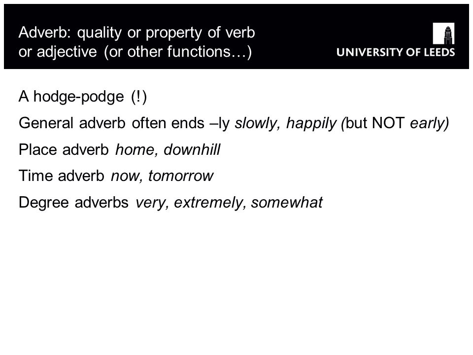 Adverb: quality or property of verb or adjective (or other functions…) A hodge-podge (!) General adverb often ends –ly slowly, happily (but NOT early) Place adverb home, downhill Time adverb now, tomorrow Degree adverbs very, extremely, somewhat