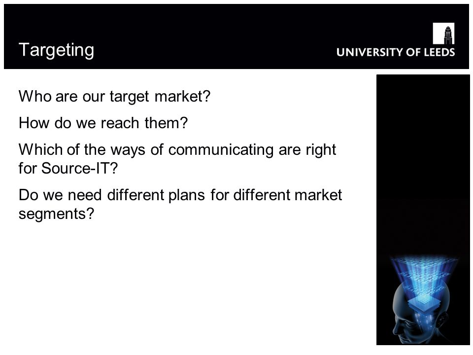 Targeting Who are our target market? How do we reach them? Which of the ways of communicating are right for Source-IT? Do we need different plans for