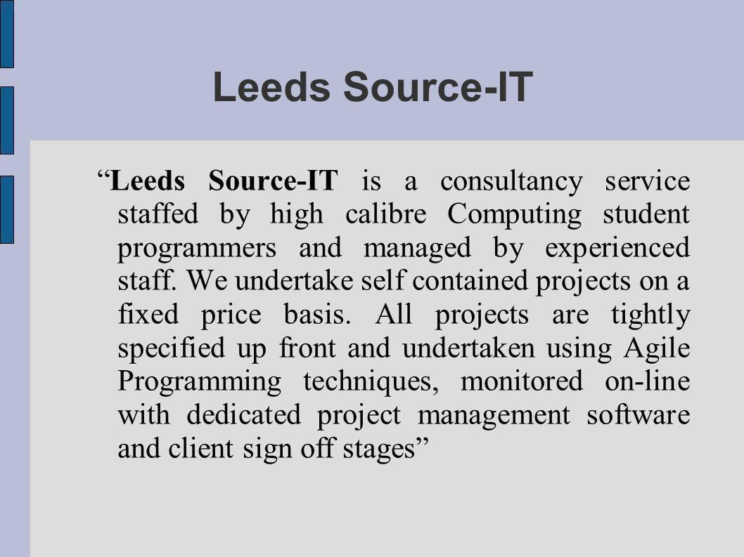Version Control for Software Development Leeds Source-IT Version Control for Software Development Group Project Management