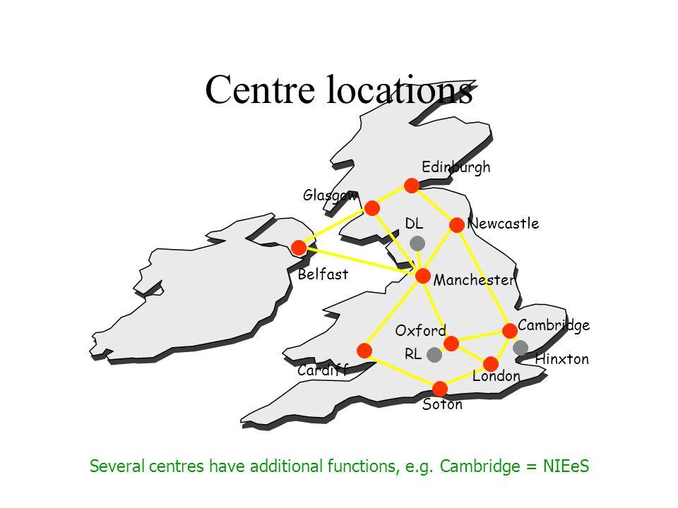 Cambridge Newcastle Edinburgh Oxford Glasgow Manchester Cardiff Soton London Belfast DL RL Hinxton Centre locations Several centres have additional functions, e.g.