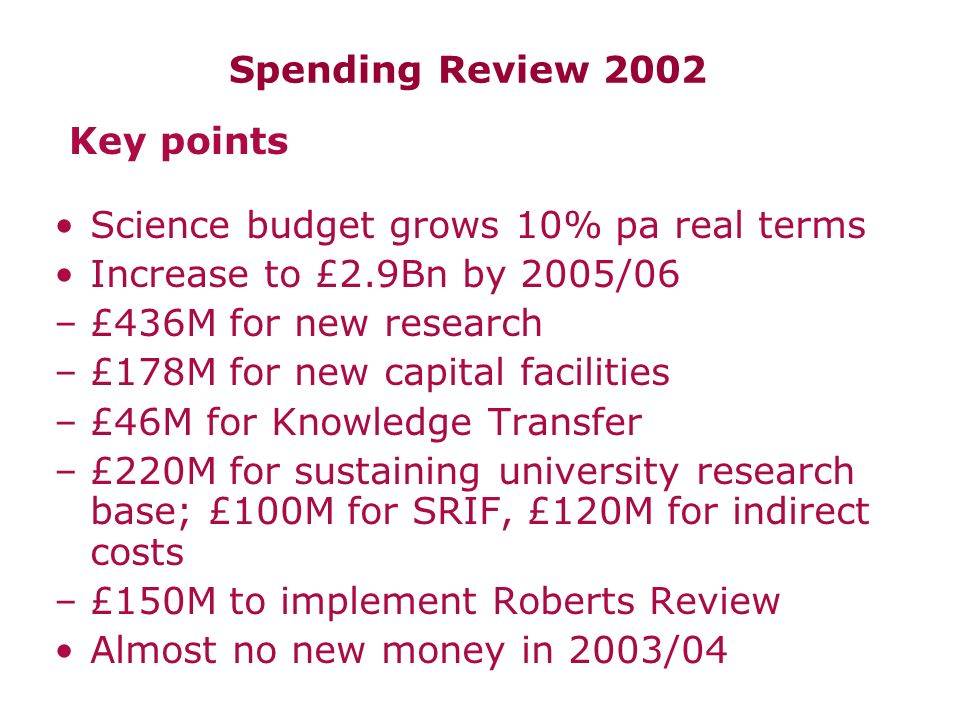 Spending Review 2002 Science budget grows 10% pa real terms Increase to £2.9Bn by 2005/06 –£436M for new research –£178M for new capital facilities –£