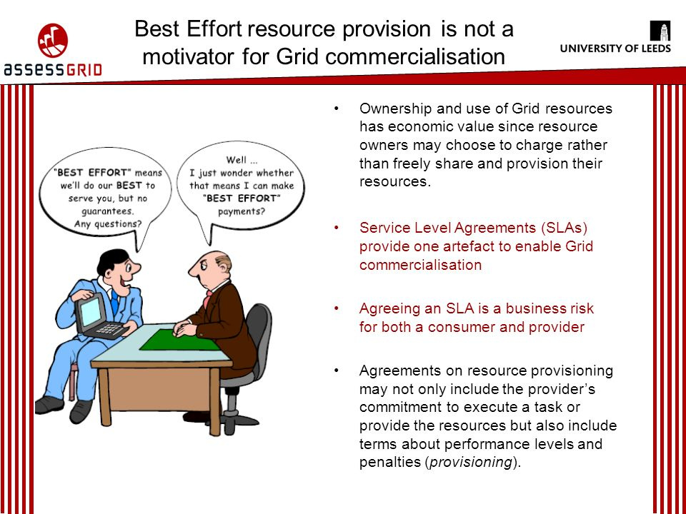 Best Effort resource provision is not a motivator for Grid commercialisation Ownership and use of Grid resources has economic value since resource owners may choose to charge rather than freely share and provision their resources.