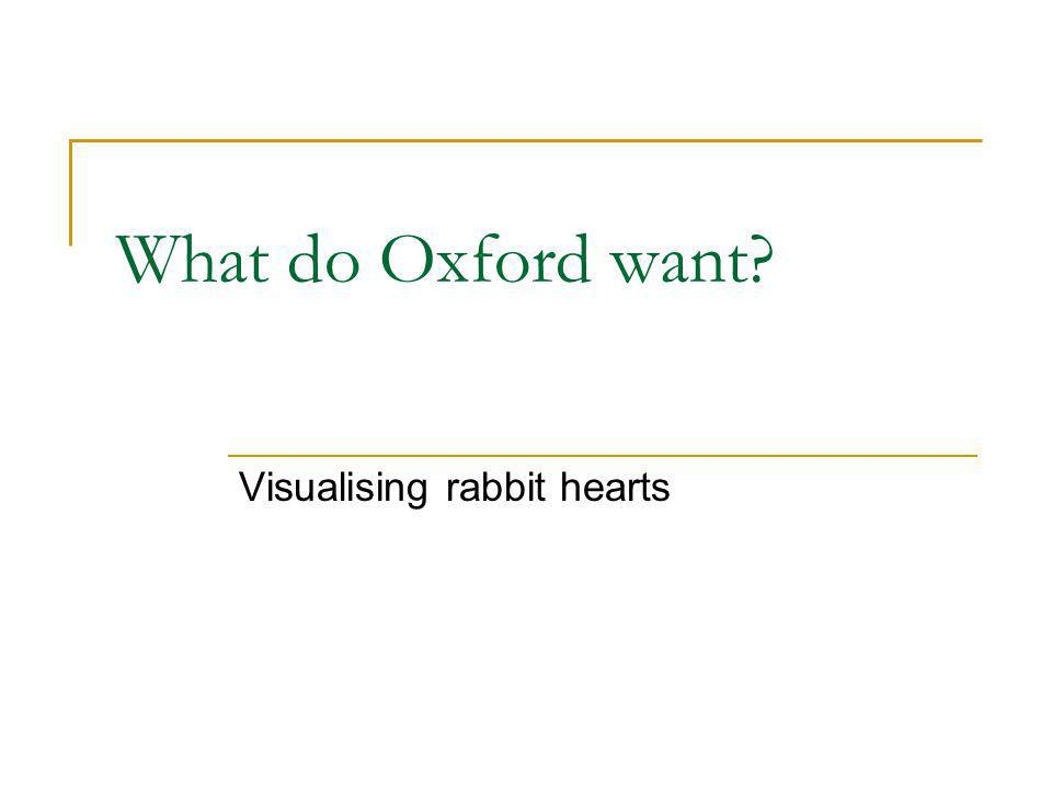 What do Oxford want Visualising rabbit hearts