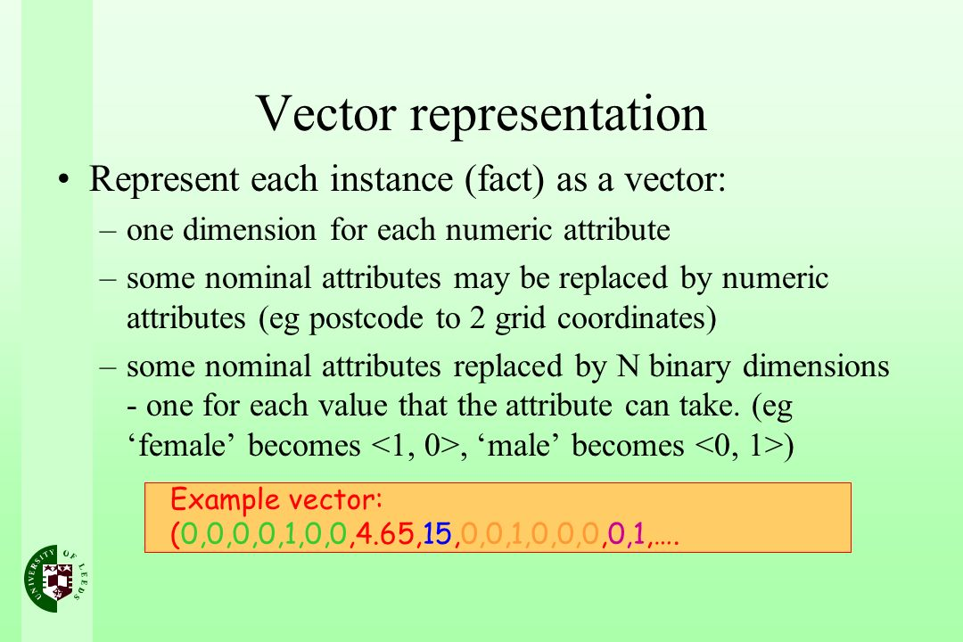 Vector representation Represent each instance (fact) as a vector: –one dimension for each numeric attribute –some nominal attributes may be replaced b